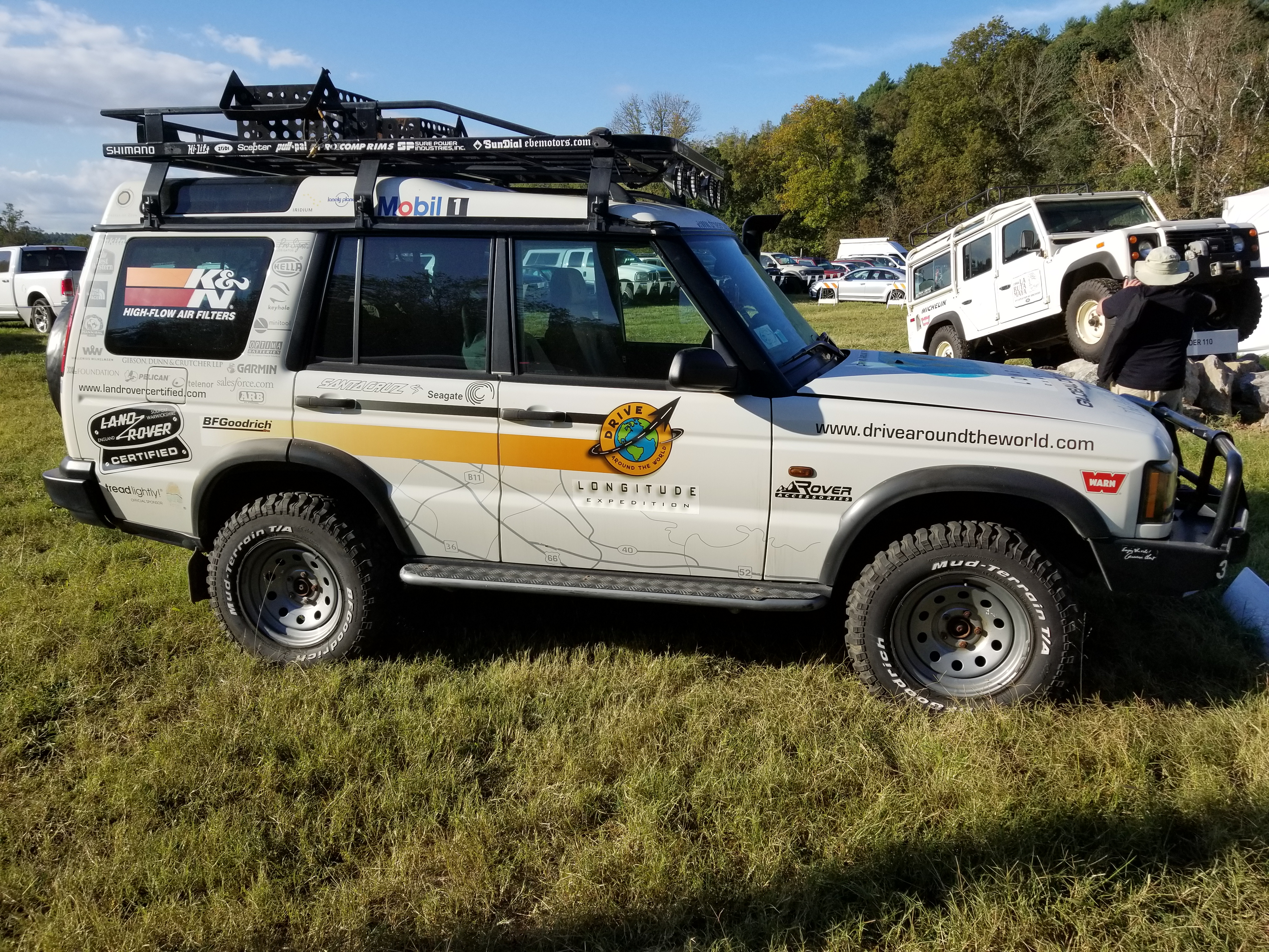 One of the modded Land Rovers at the booth